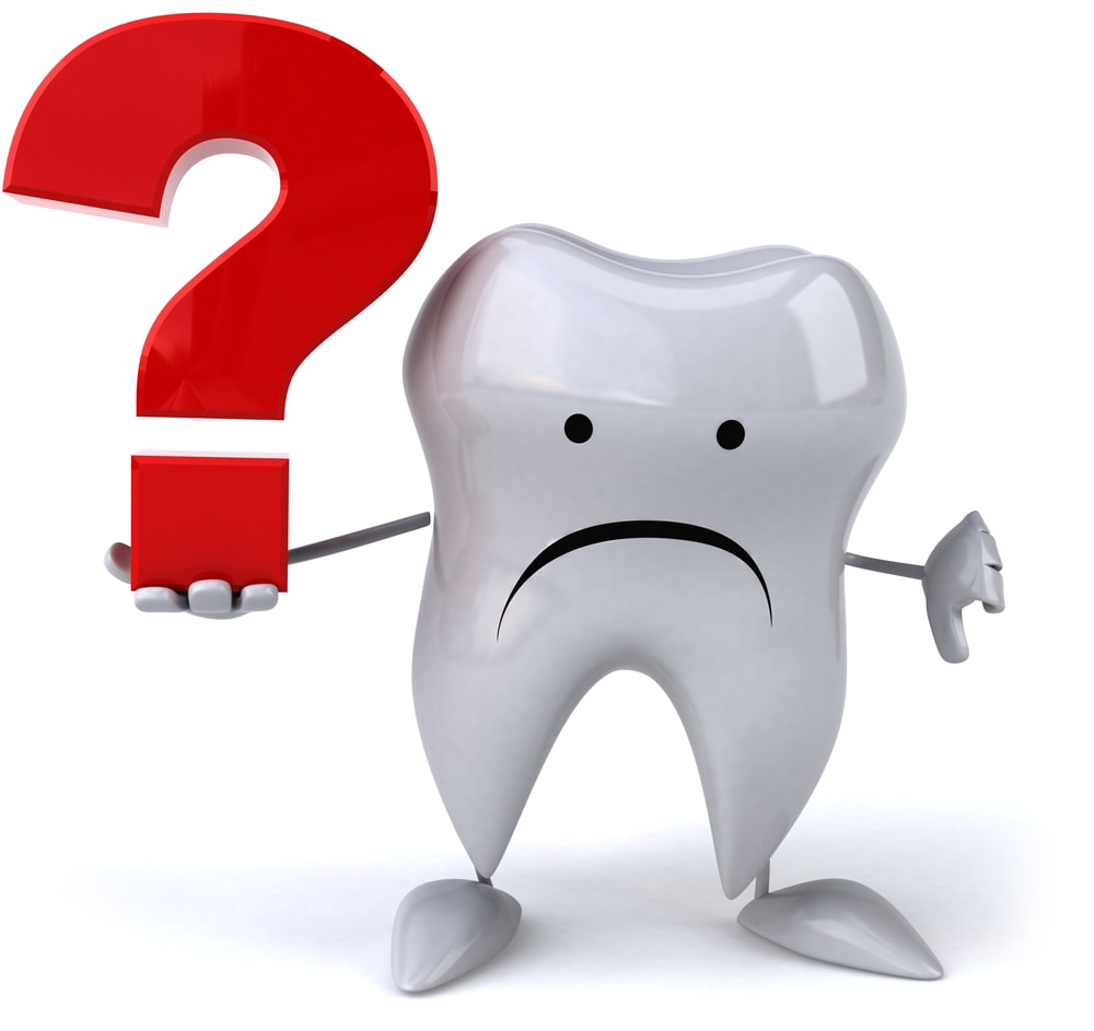 Tooth with a sad face and a giant red question mark